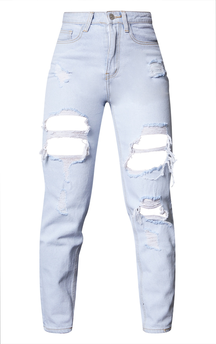 PRETTYLITTLETHING Light Bleach Wash Ripped Mom Jeans 5