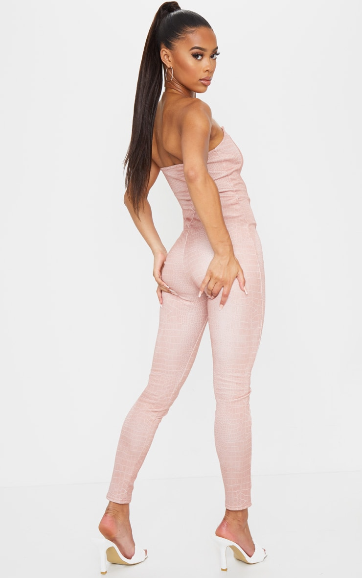 Nude Snake Print Clear Strap Binding Detail Jumpsuit 2