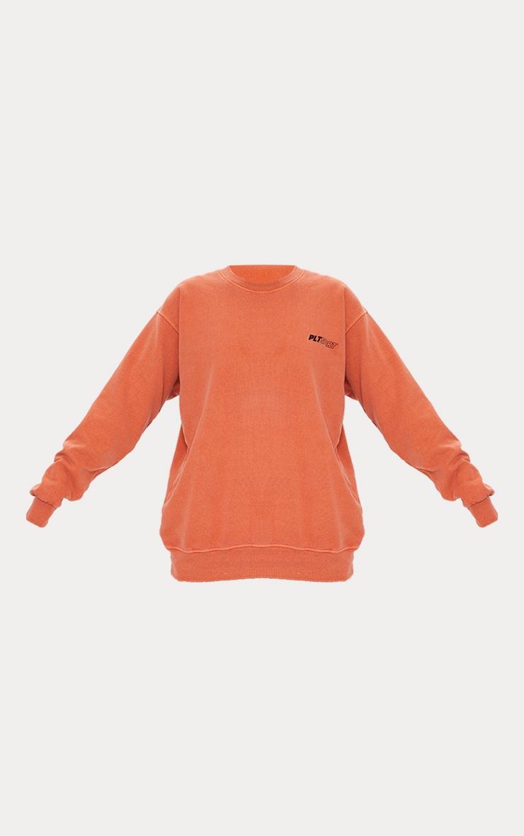 PRETTYLITTLETHING Rust Oversized Sport Sweater 5
