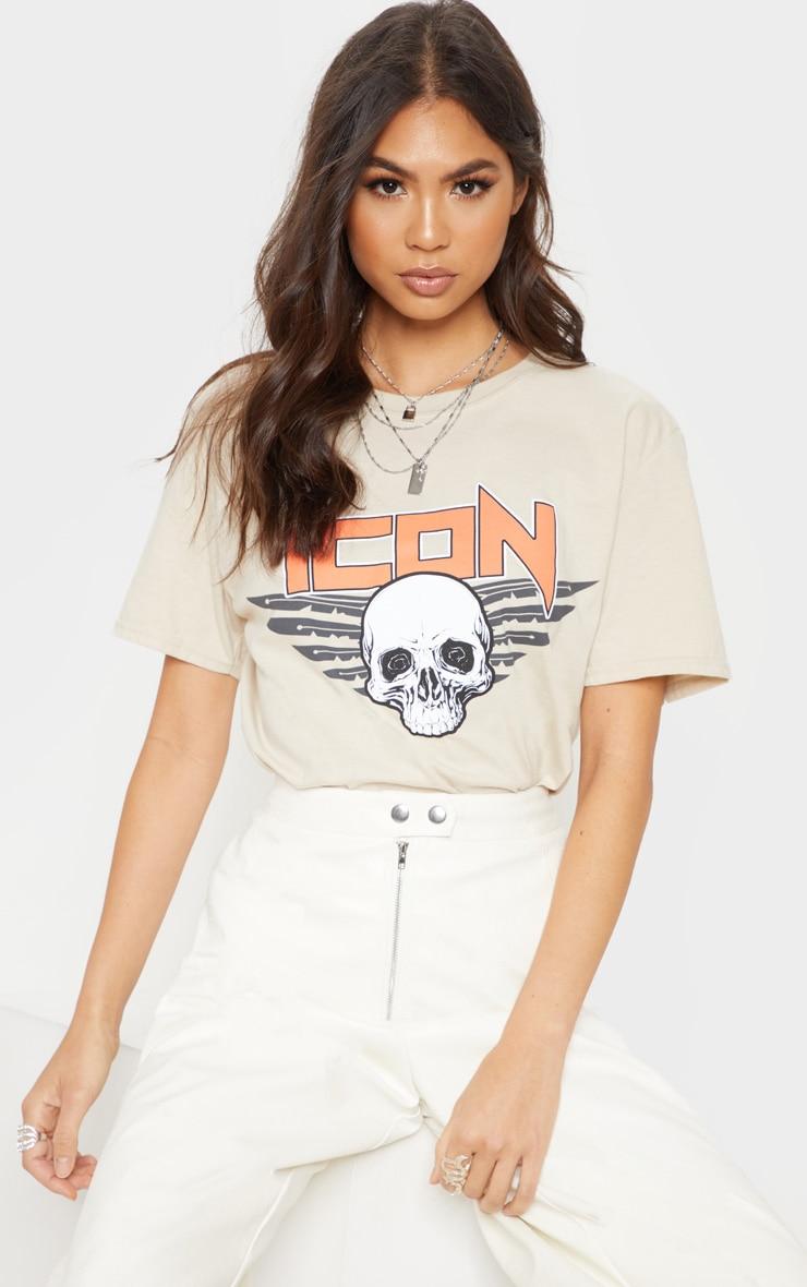 Sand Icon Slogan Oversized T Shirt 1
