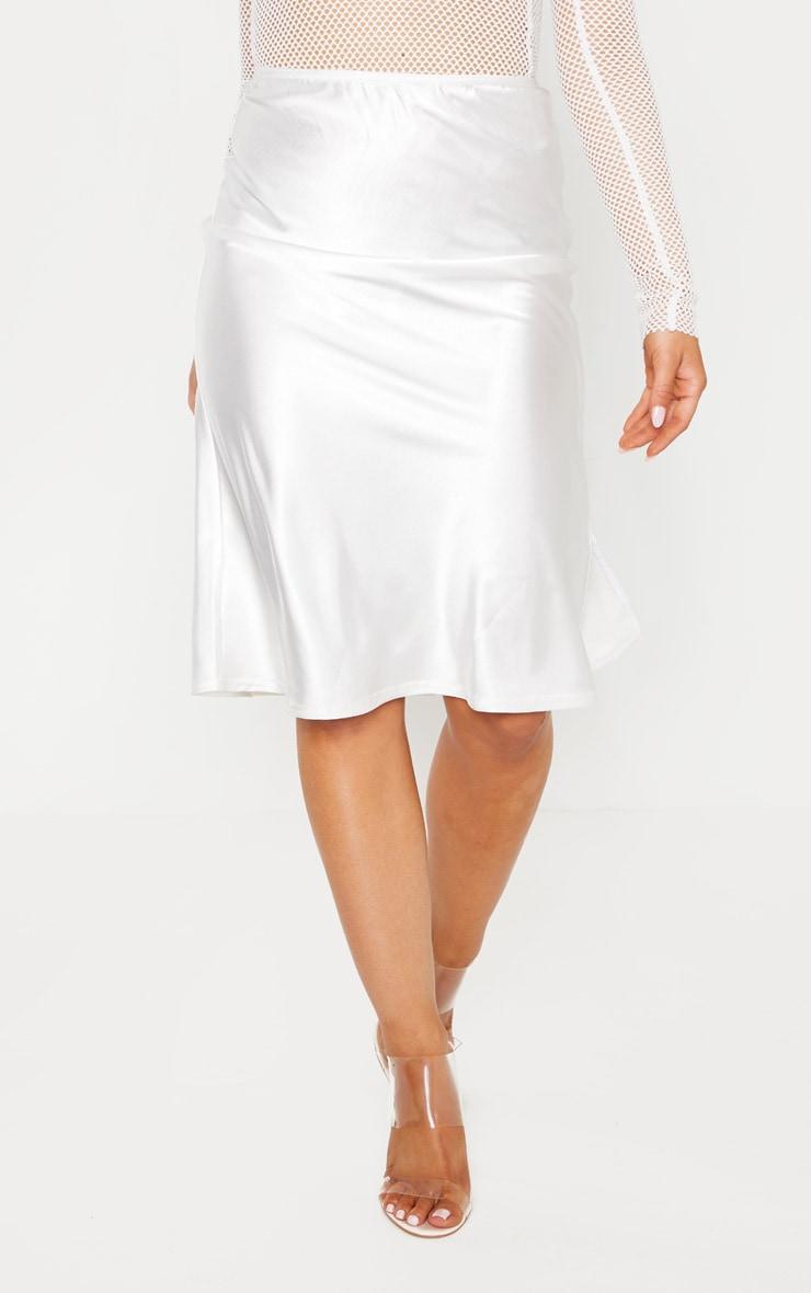 Petite Cream Satin Slip Skirt  2