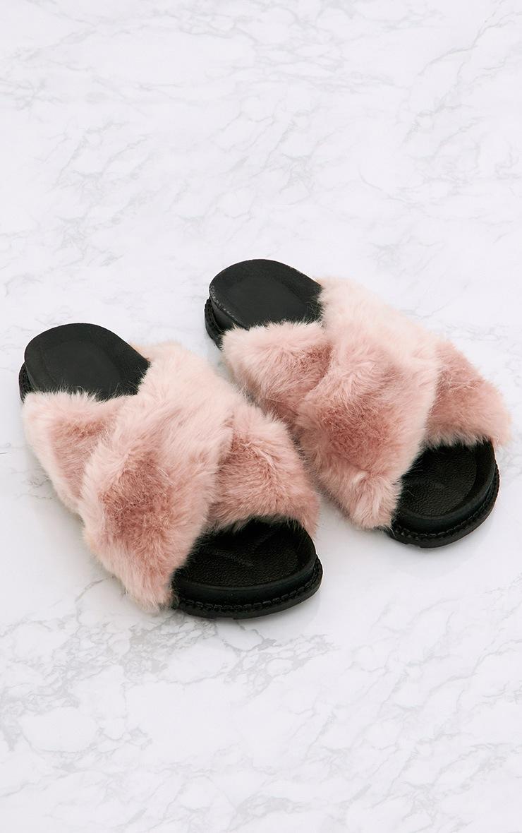Blush Double Strap Faux Fur Sliders 1