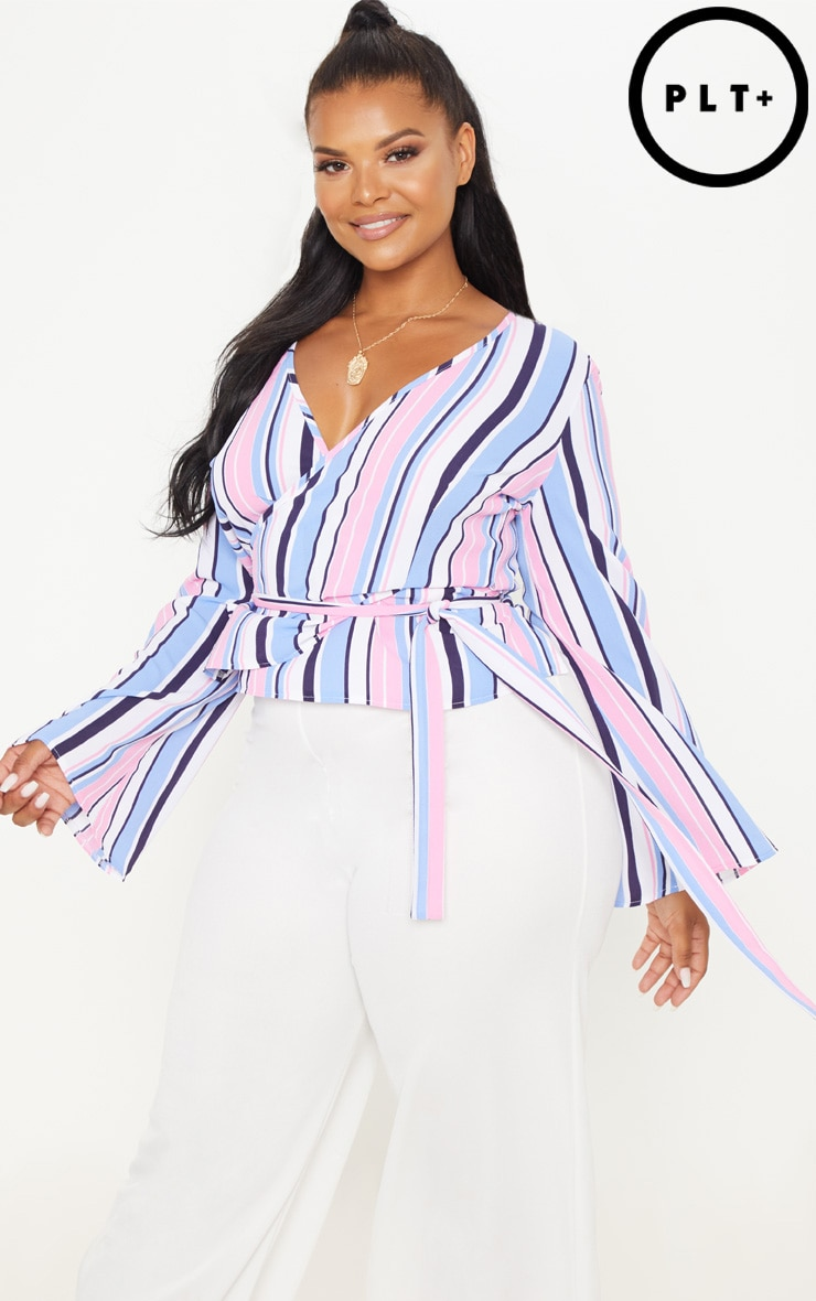 Plus Pink Stripe Wrap Chiffon Top 1