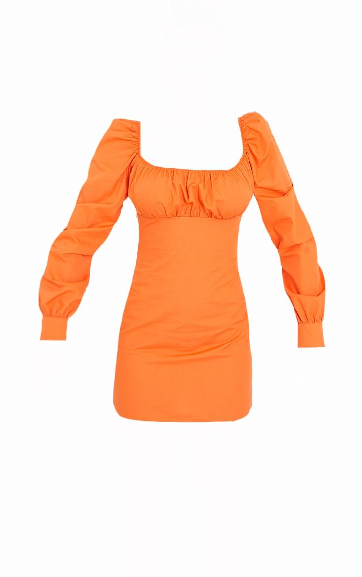 Orange Ruched Bust Square Neck Long Sleeve Shift Dress 5