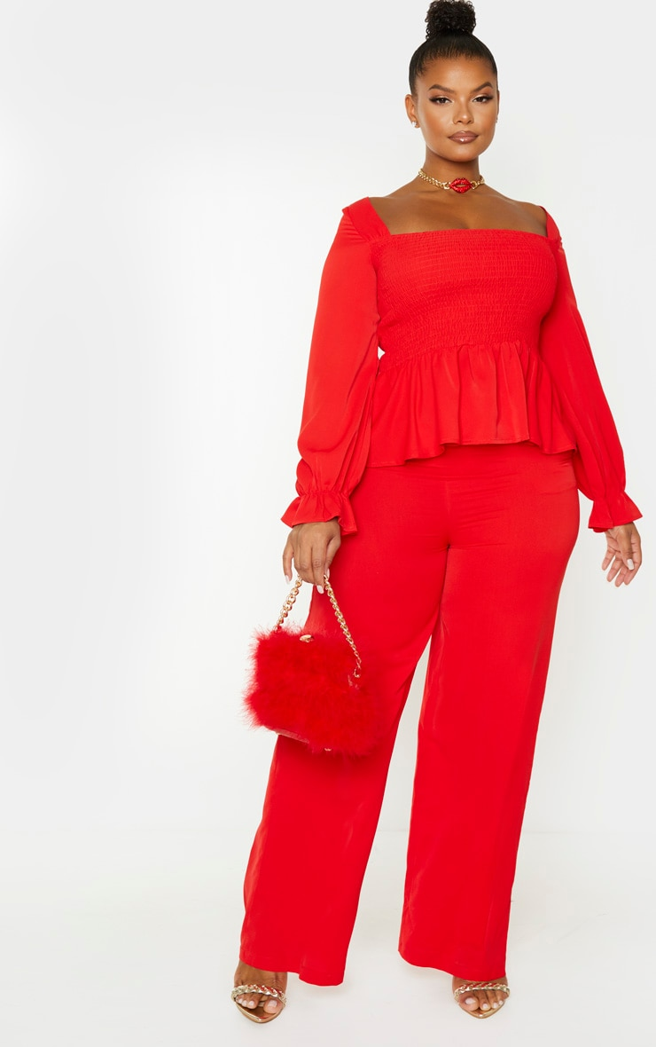 Plus Red Extreme Wide Leg Trouser 1