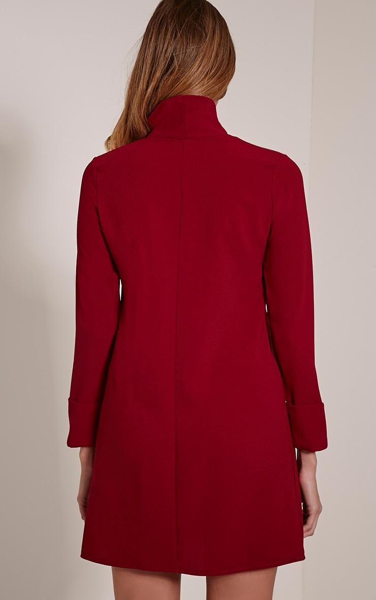 Nickie Burgundy Roll Neck Shift Dress 2