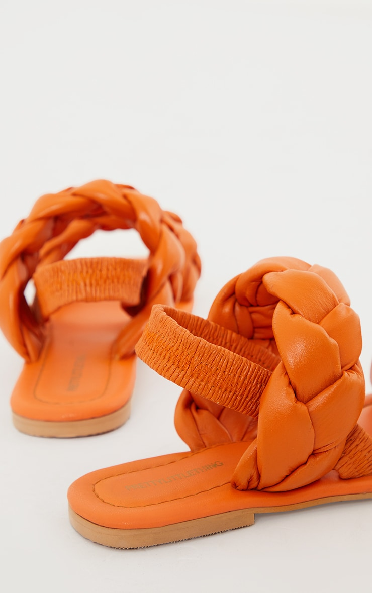 Sandales orange en cuir véritable à brides tressées chunky et bout carré 4