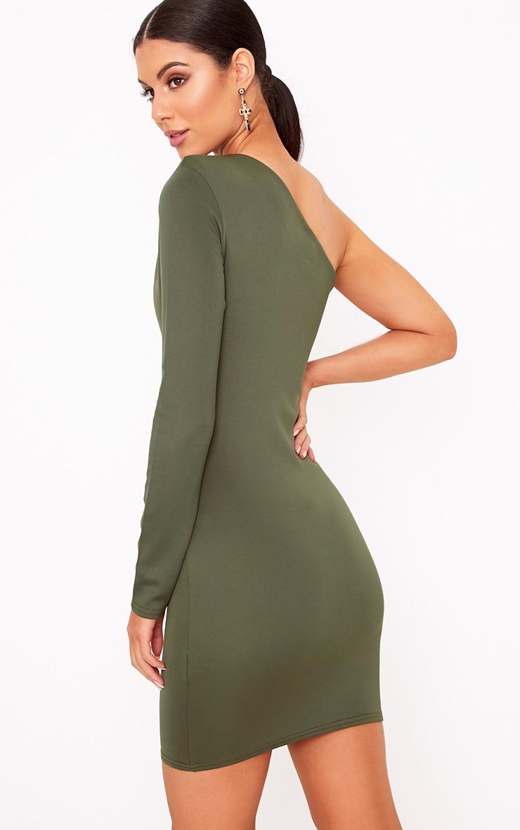 Khaki One Shoulder Ruched Bodycon Dress 2