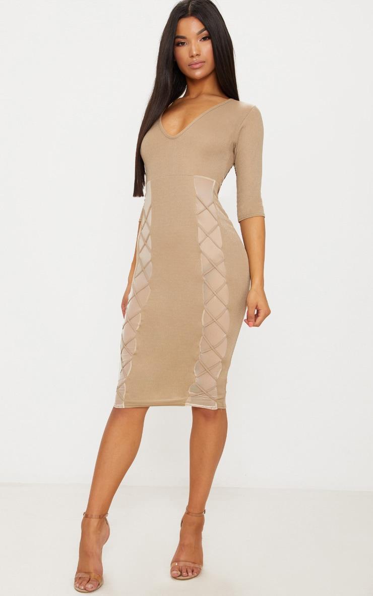 Dark Nude Lace Up Detail 3/4 Sleeve Midi Dress 1