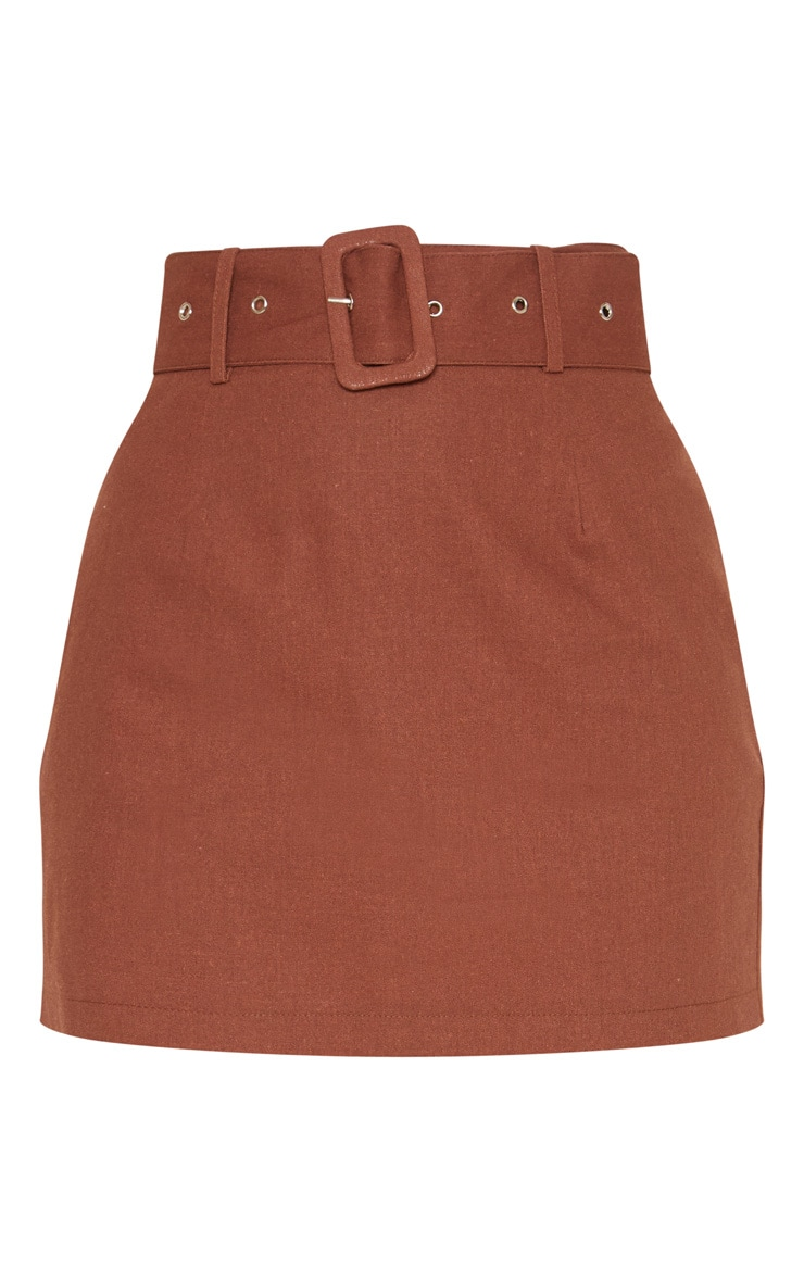 Chocolate Belted Cargo Mini Skirt 3