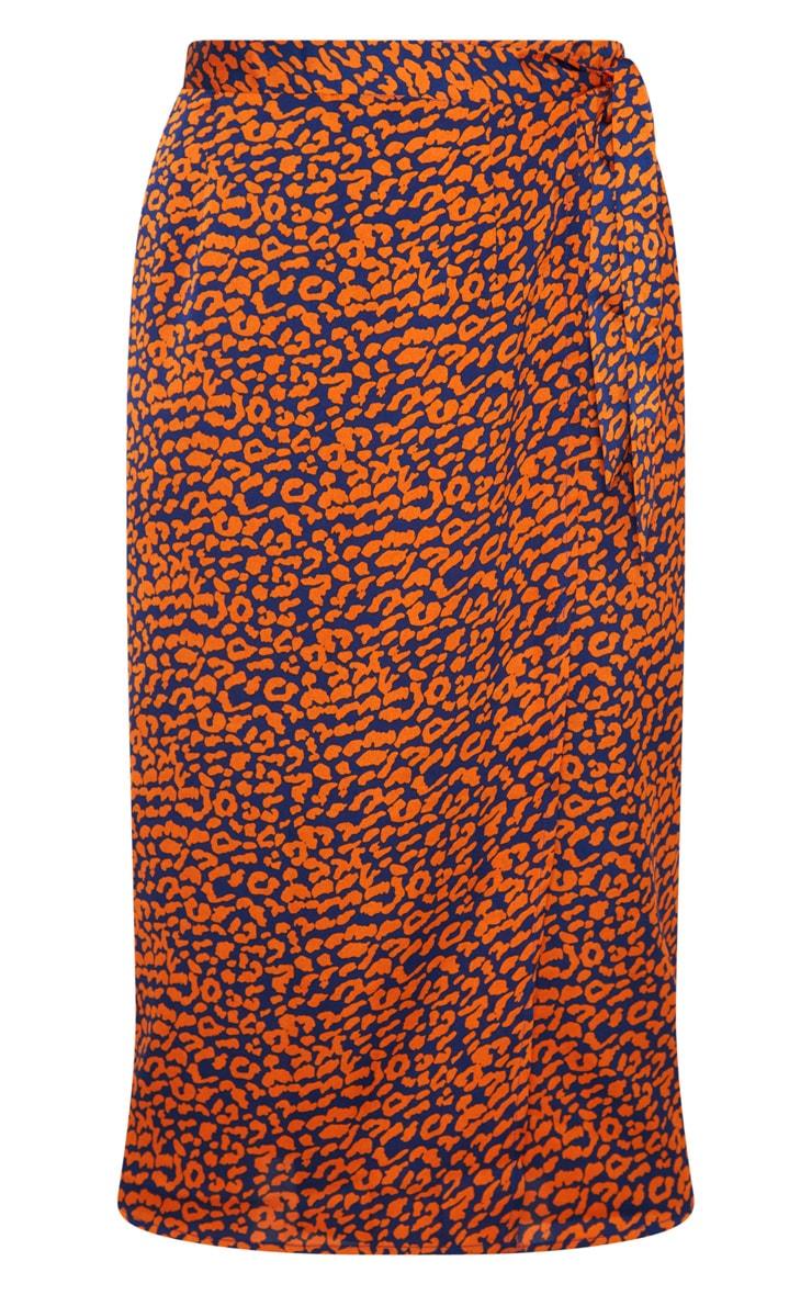 Navy Leopard Print Wrap Midi Skirt 3