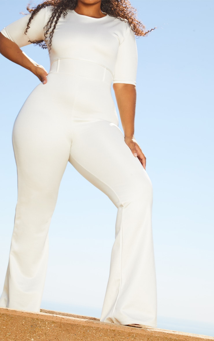 Plus White Second Skin Short Sleeve Flare Leg Jumpsuit 5