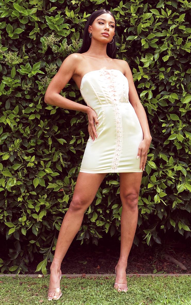 Blush Satin Lace Up Corset Detail Bandeau Bodycon Dress 3