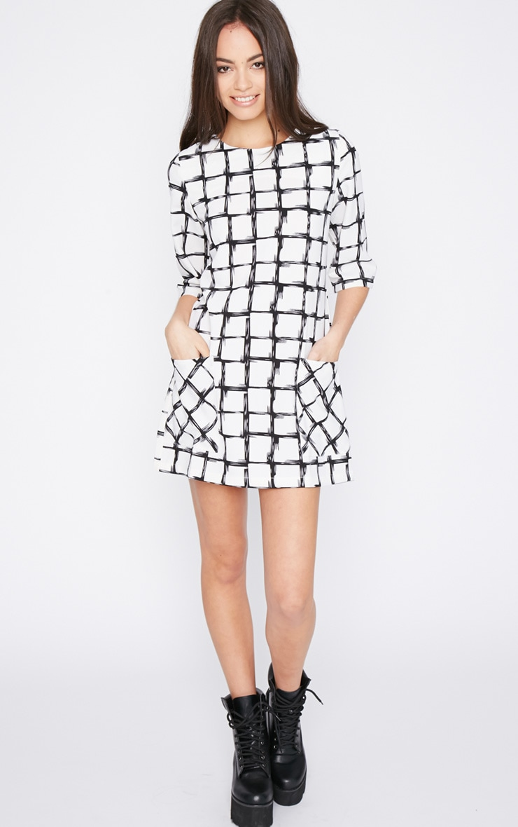 Agni White Check Shift Dress 3