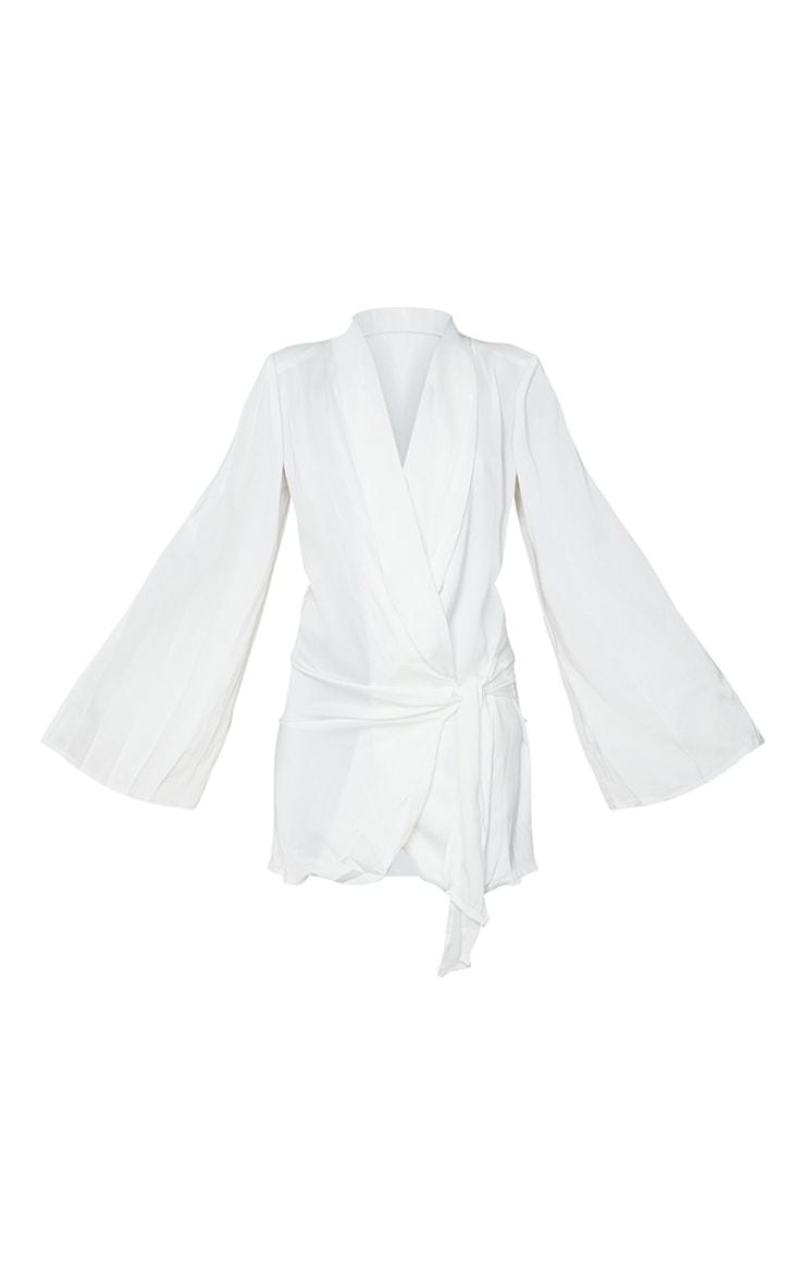 White Extreme Plunge Tie Detail Shift Blazer Dress 5