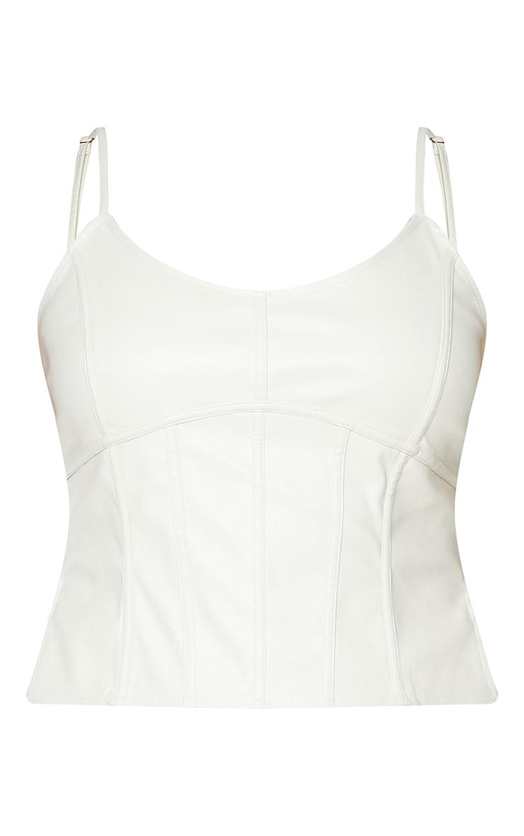 Plus Cream Binding Detail PU Cropped Cami Top 5