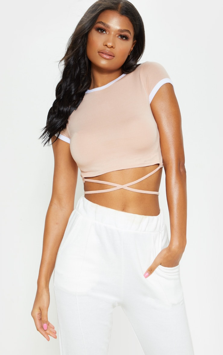 Phillipa Nude Jersey Harness Contrast Crop T Shirt 1