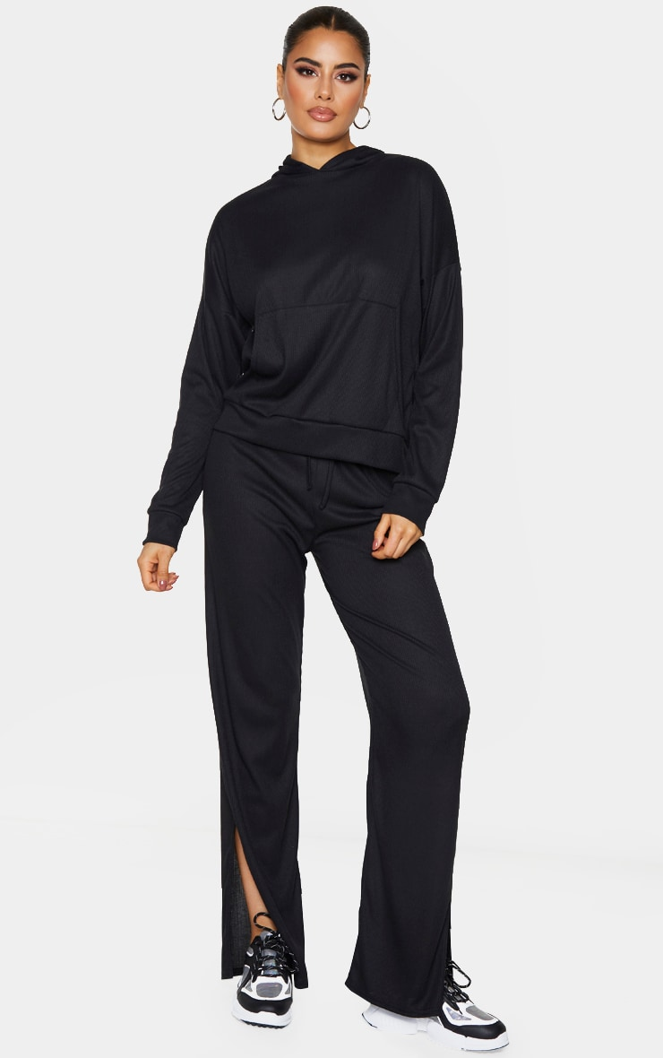 Tall Black Ribbed Oversized Hoodie 3
