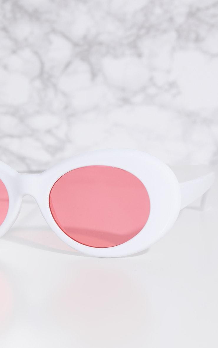 White Retro Oval Sunglasses 3