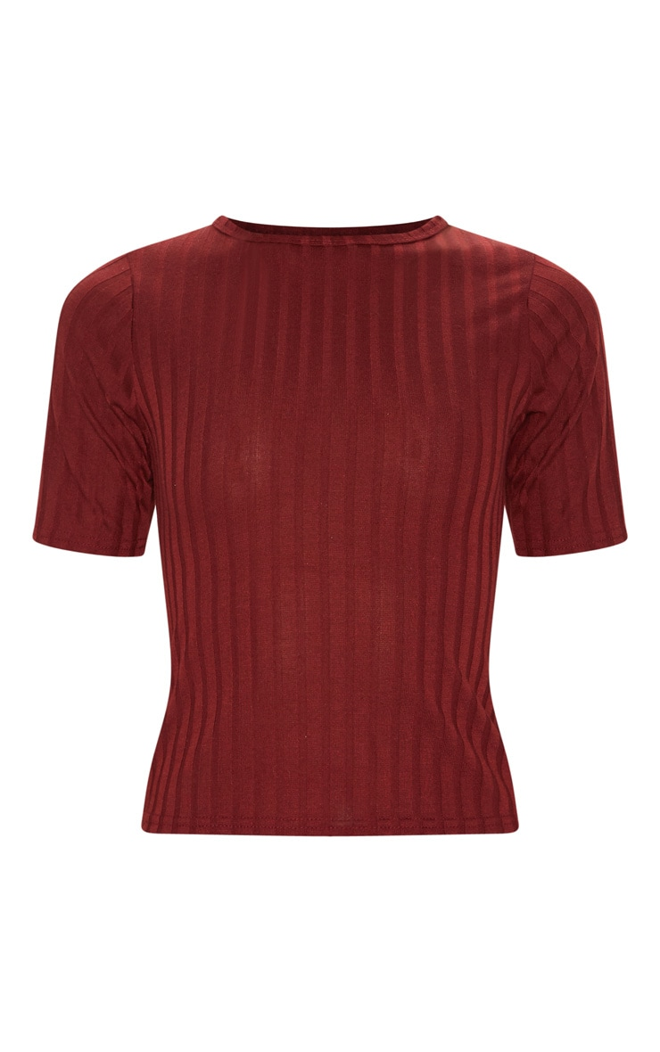 Deep Burgundy Rib Short Sleeve Tshirt 3