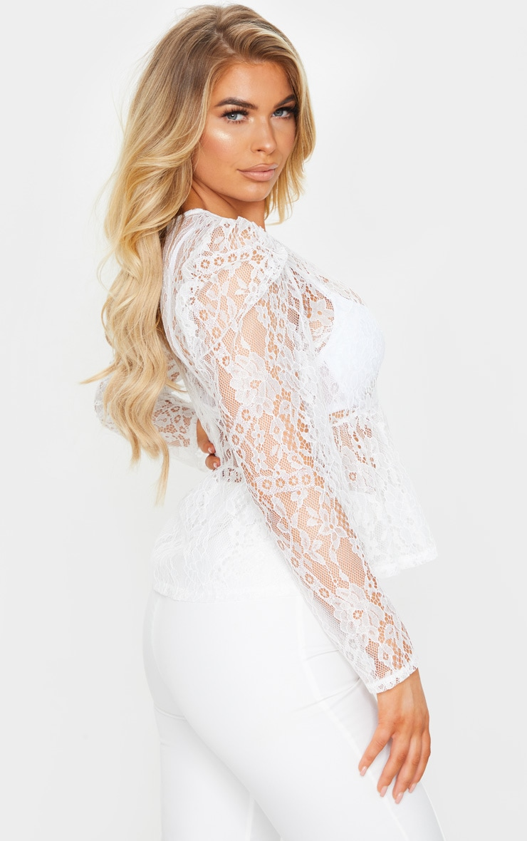 White Sheer Lace Puff Sleeve Blouse 2