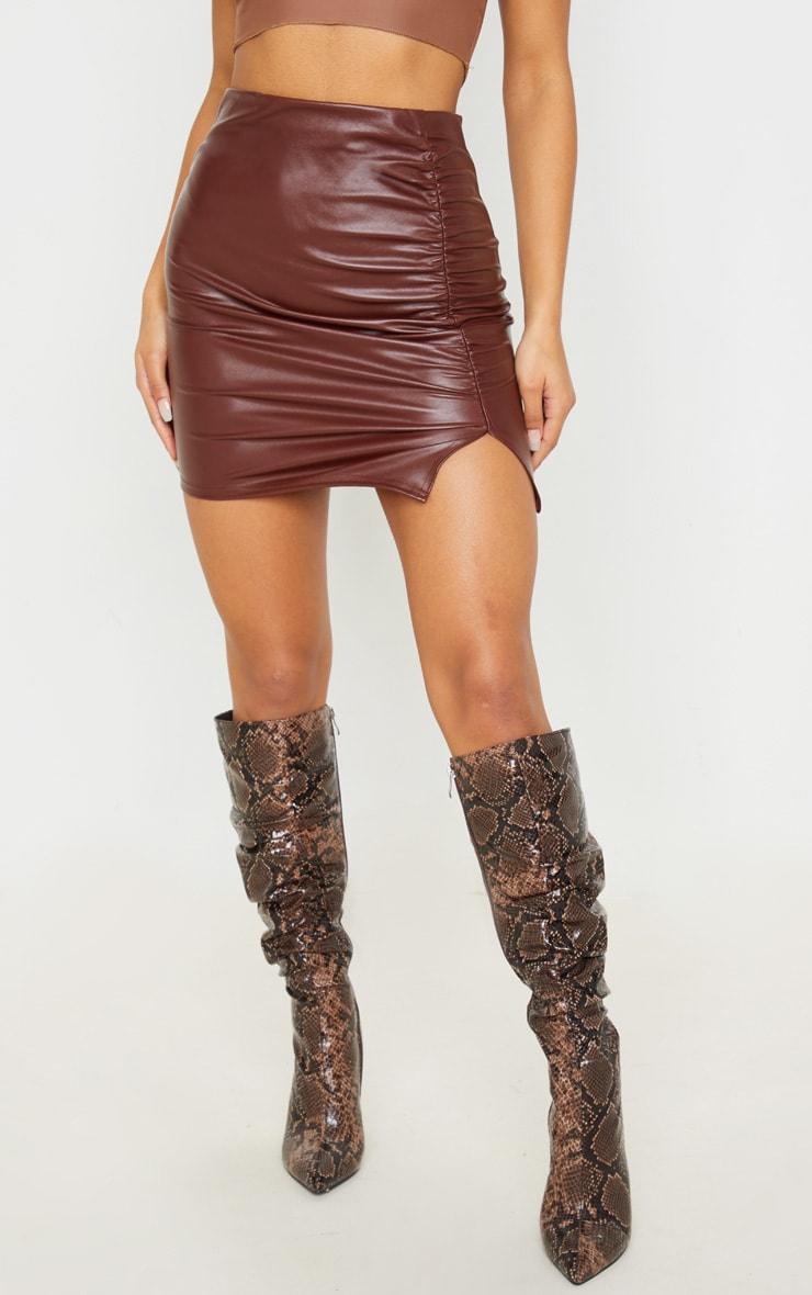 Chocolate Coated Ruched Split Mini Skirt 2