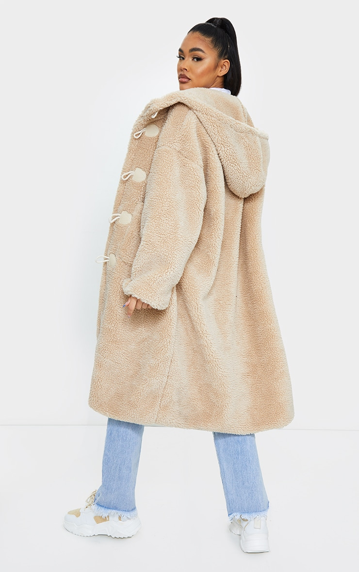 Sand Faux Fur Teddy Toggle Maxi Coat 2
