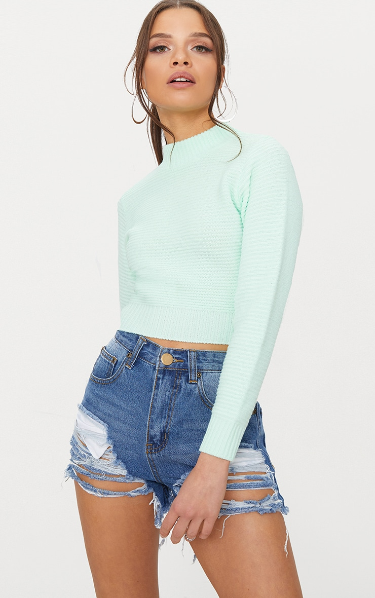 Mint Ribbed Cropped Knitted Jumper 1