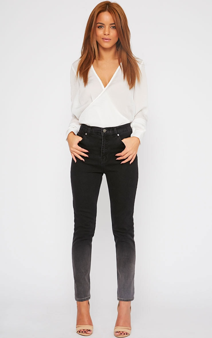Bonnie Charcoal Mid Rise Ombre Skinny Jean 1