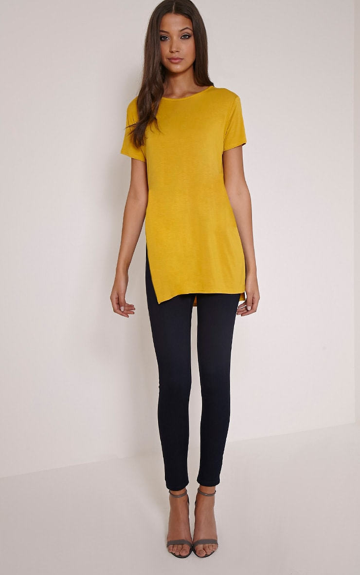 Basic Mustard Side Split T-Shirt 4
