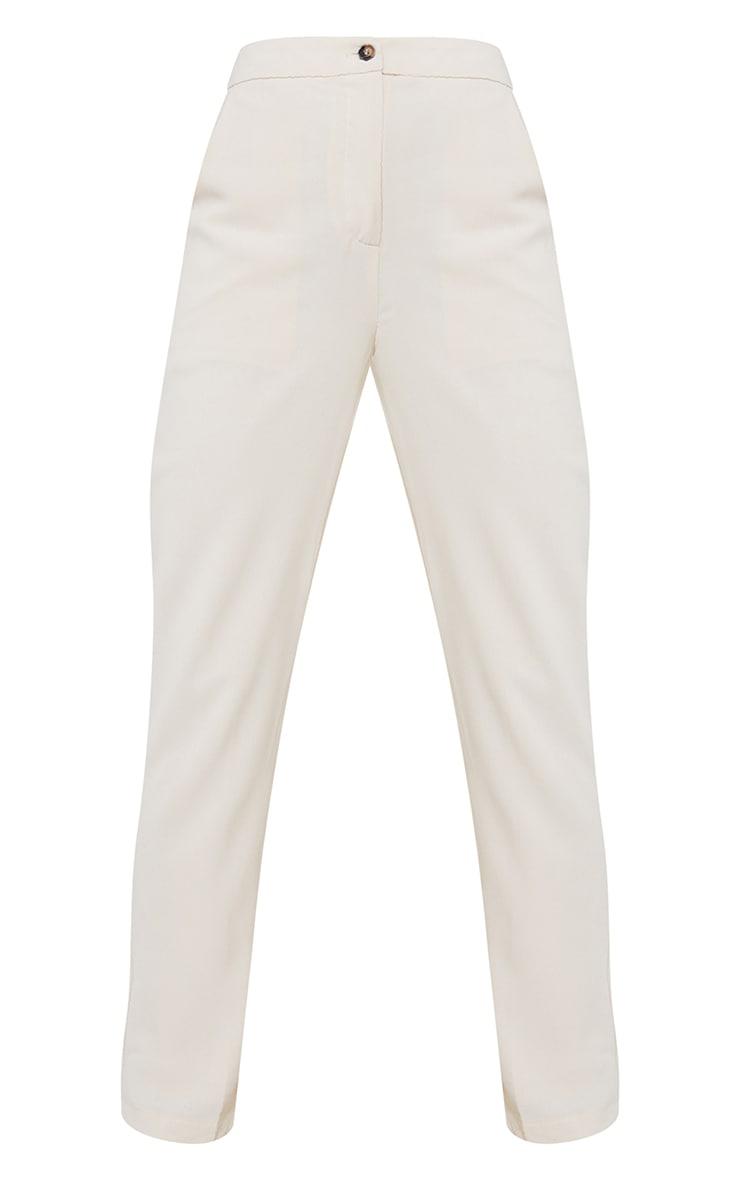 Cream Woven Pocket Detail Straight Leg Pants 5