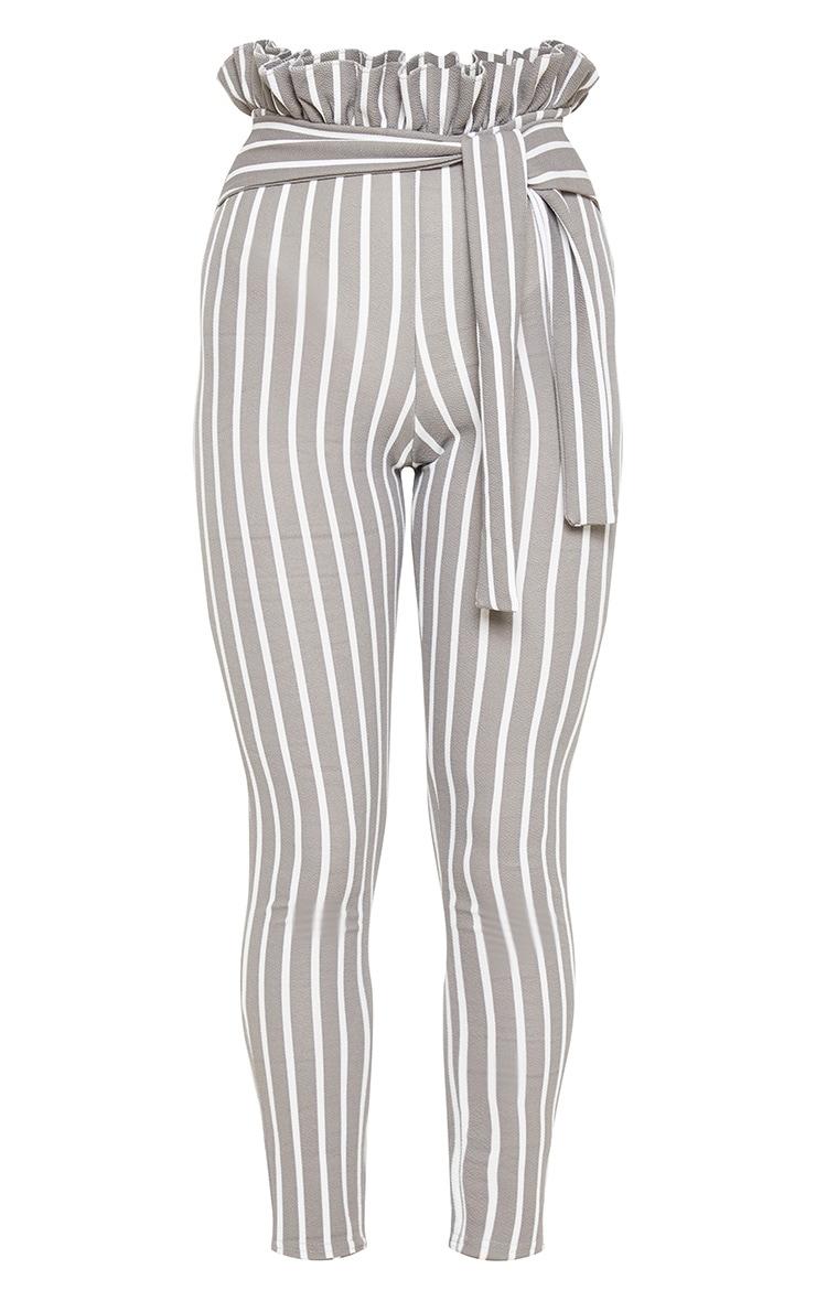 Grey Pinstripe Paperbag Skinny Pants  3