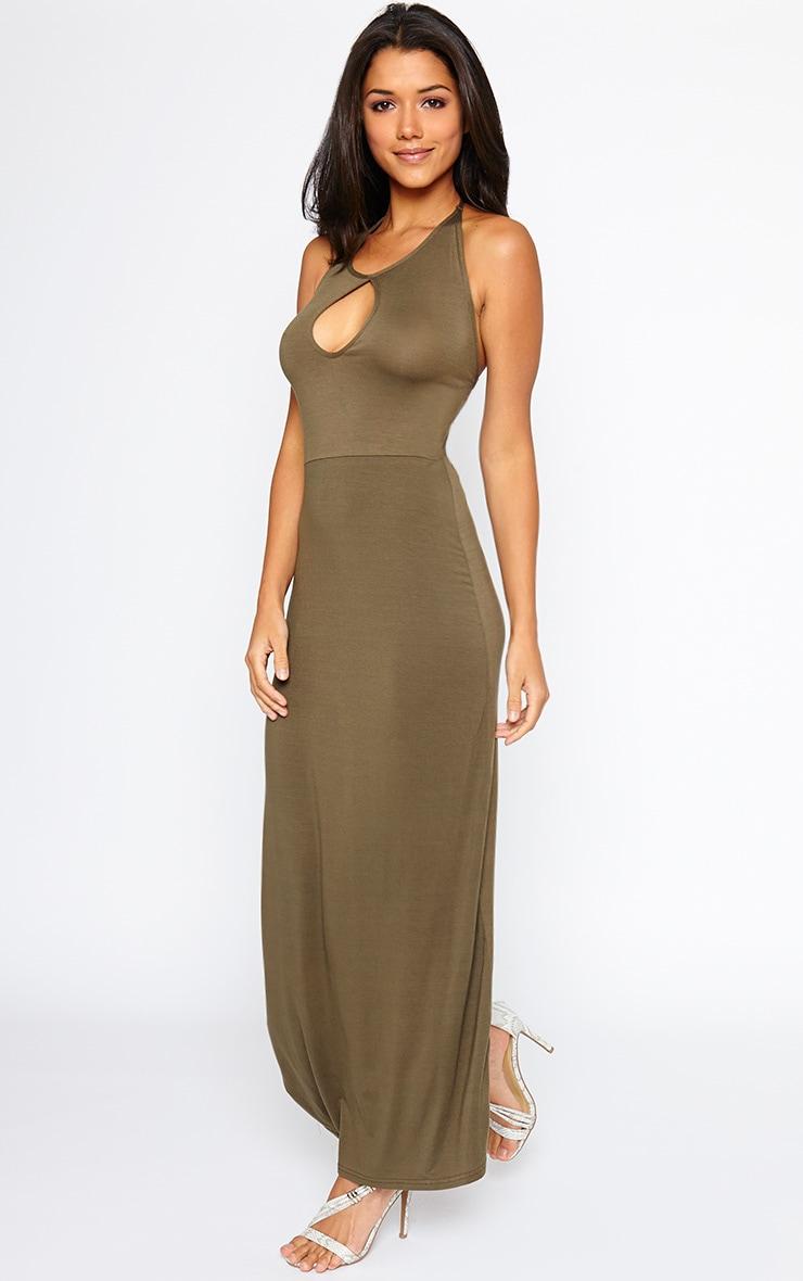 Kerry Khaki Caged Back Maxi Dress 3