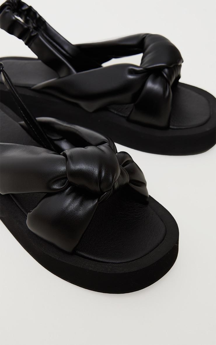 Black Padded Knot Slingback Square Toe Flatform Sandals 4