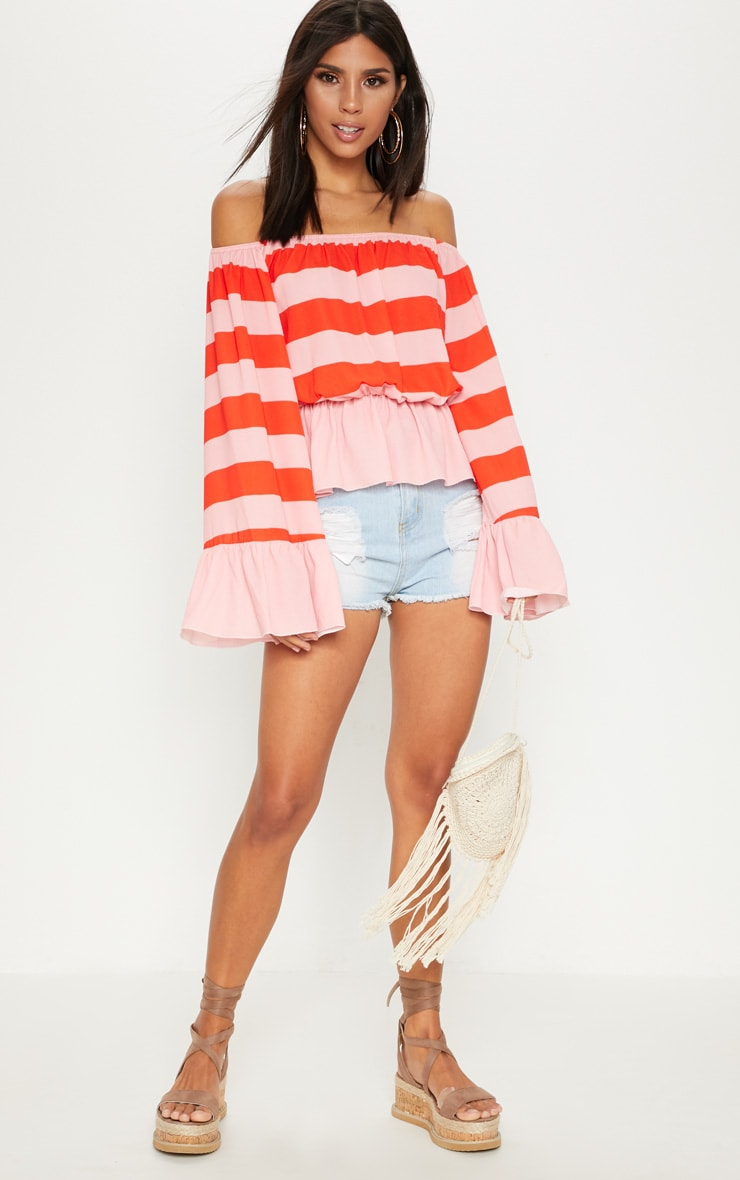 Pink Stripe Flare Bardot Sleeve Top 4
