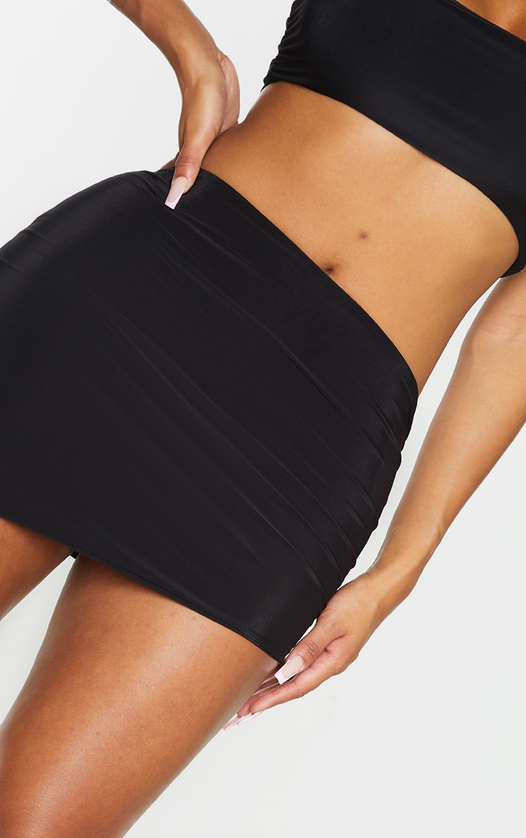 Shape Black Slinky Asymmetric Bodycon Skirt 5
