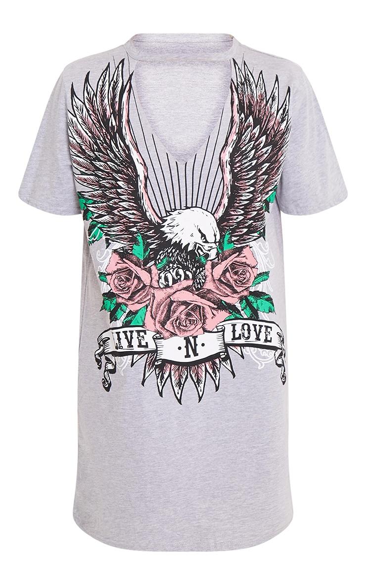Live N Love Grey Choker Detail T Shirt Dress 3