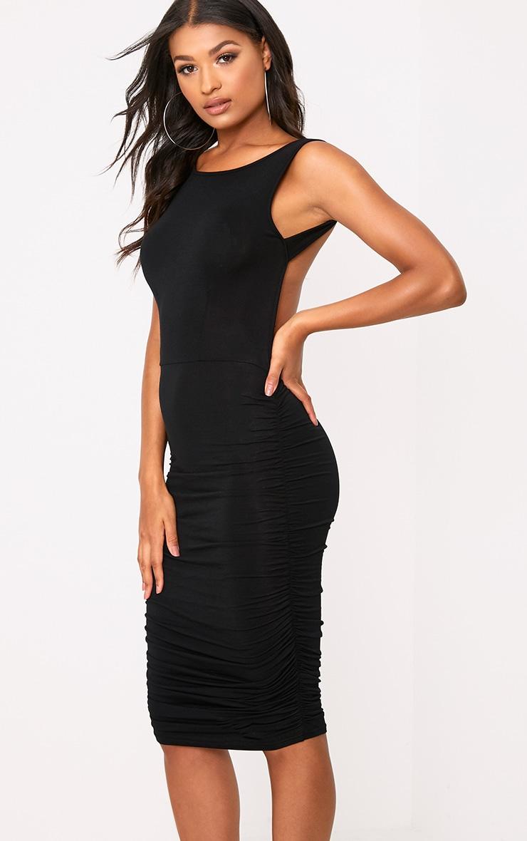 Black Open Back Ruched Midi Dress 2