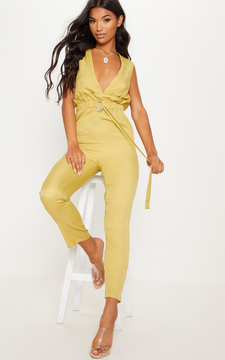 Chartreuse Plunge Belted Detail D Ring Jumpsuit 4