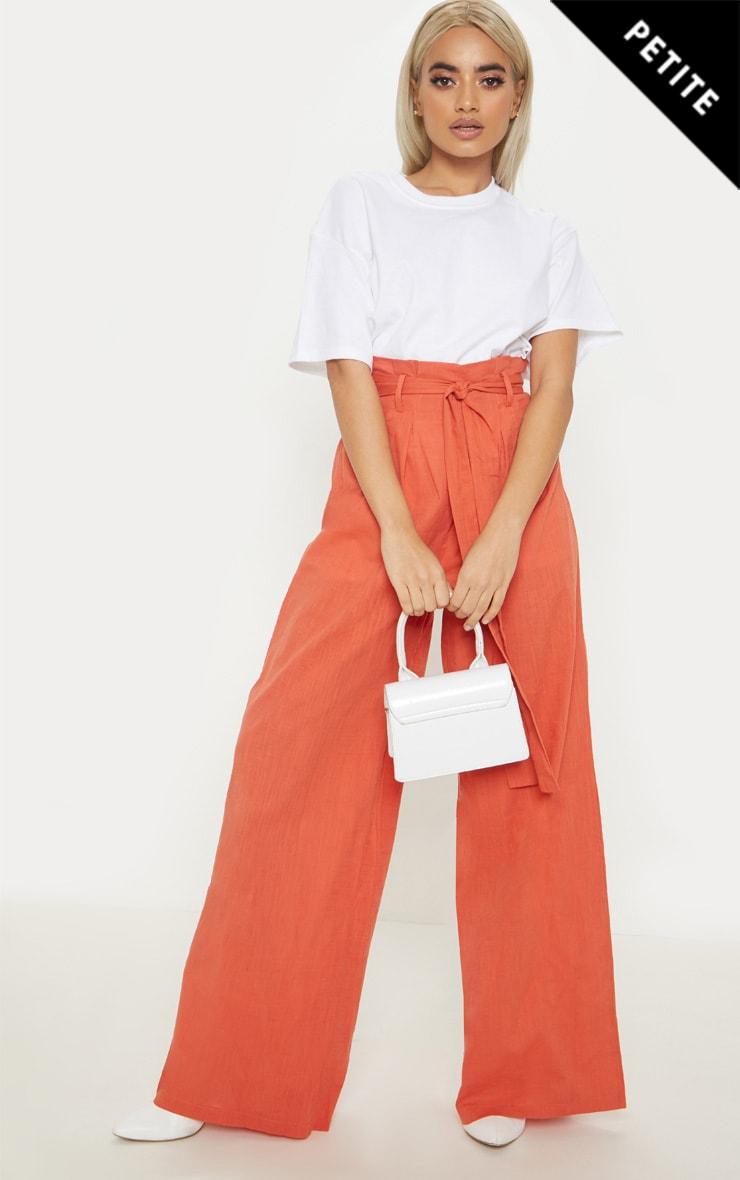 Petite Rust  High Waist Paper Bag Wide Leg Pants 1