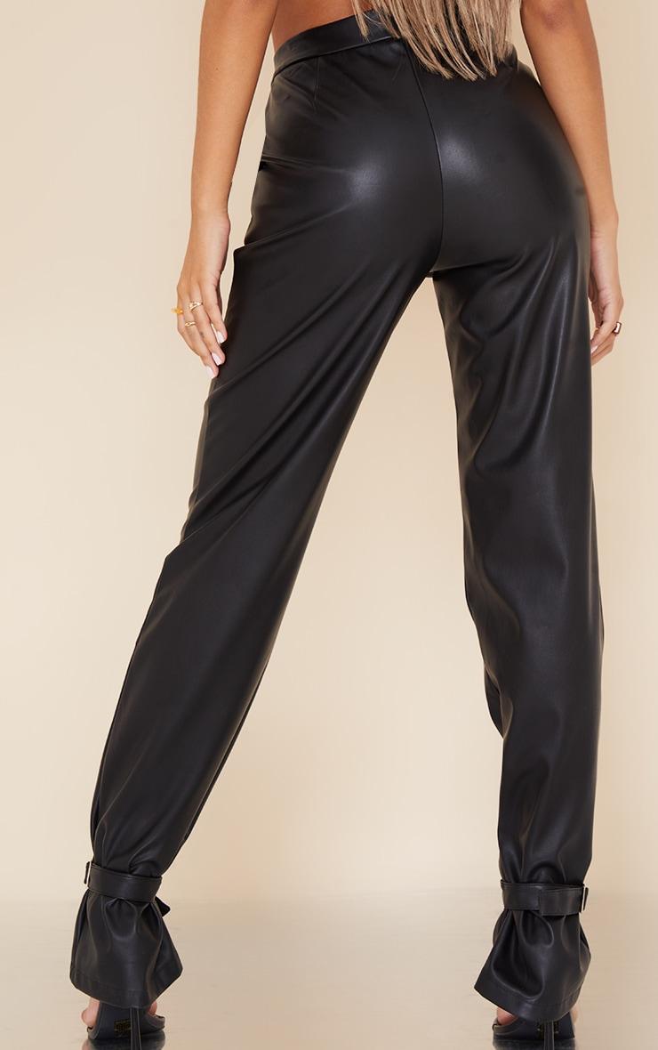 Pantalon droit en similicuir noir à détail chevilles 3