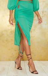 Apple Green Cut Out Ruched Side Beach Skirt 2