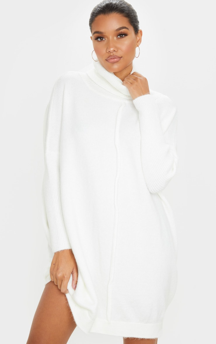 Ivory Seam Front Funnel Neck Oversized Sweater Dress