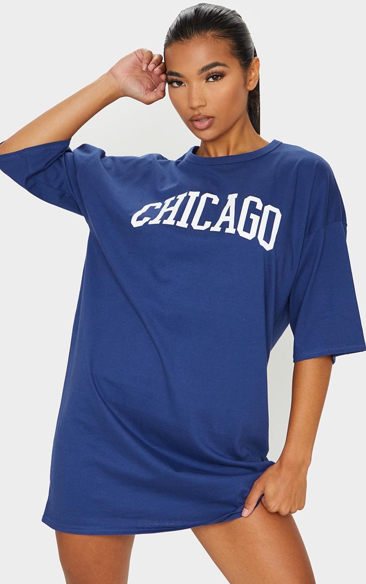 Navy Chicago Slogan Oversized T Shirt Dress 1