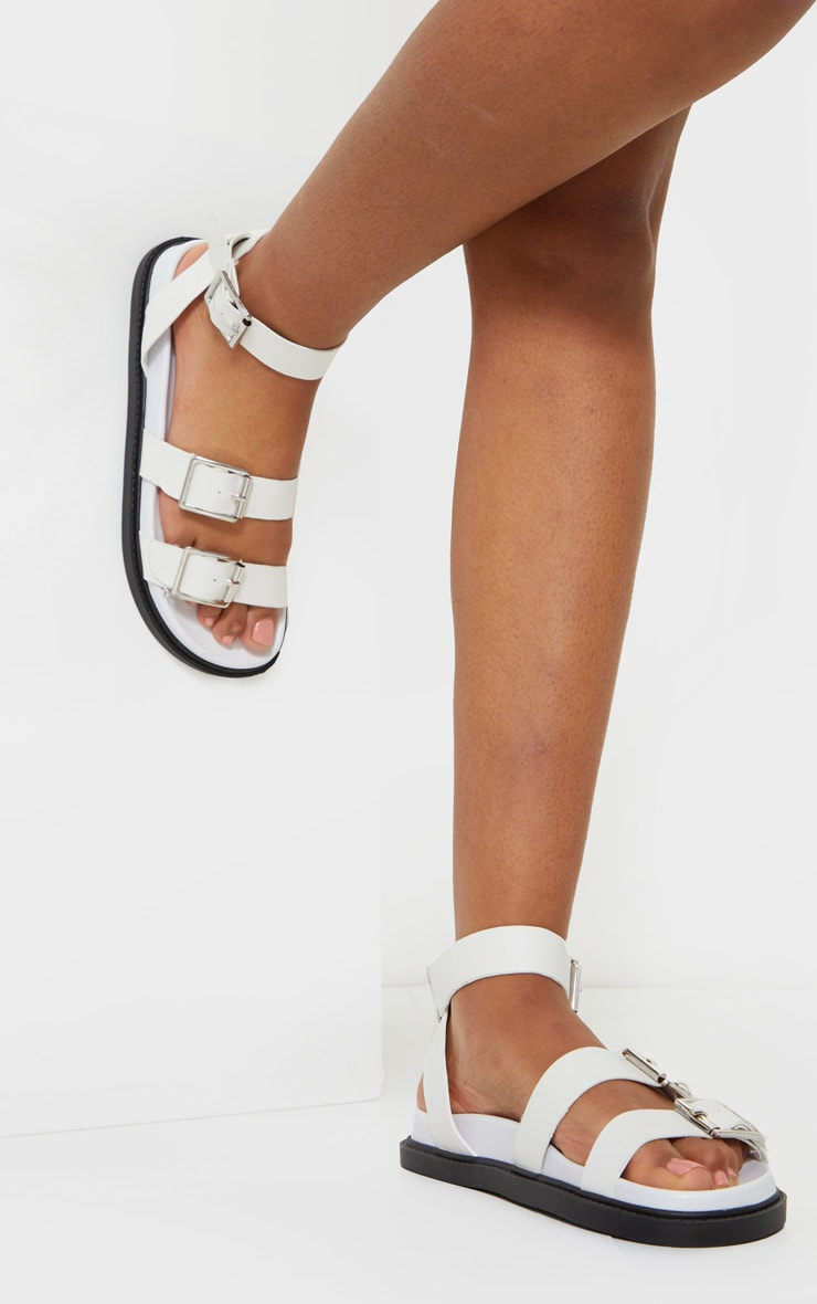 White PU Square Buckle Detail Sandals 1