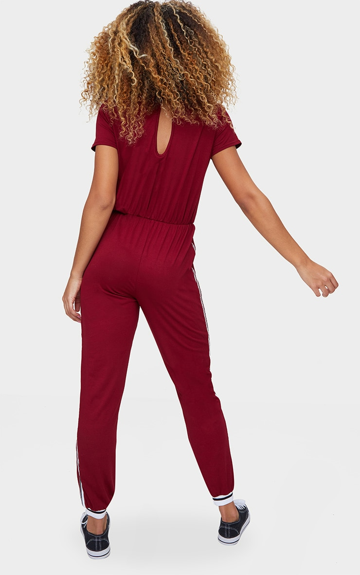 Burgundy Jersey Sports Stripe Jumpsuit 2