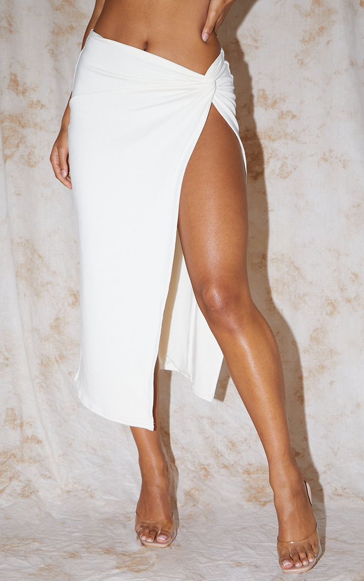 Recycled Cream Contour Jersey Twist Front Midaxi Skirt 2
