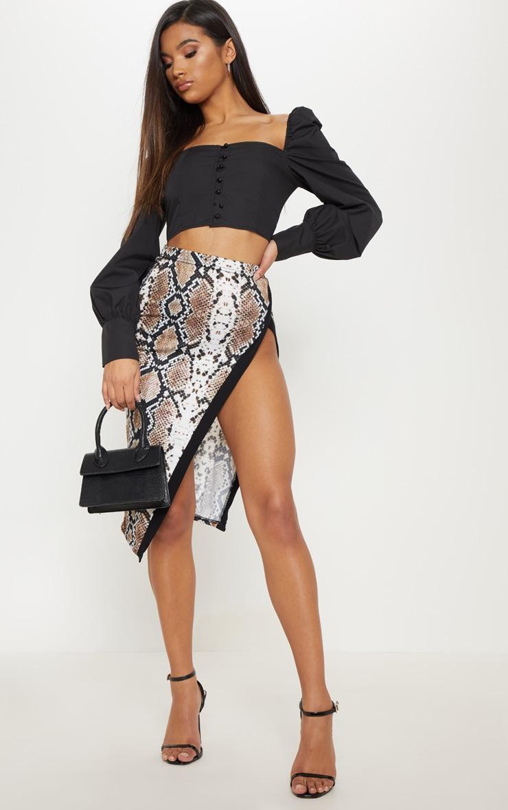 Snakeskin Printed Extreme Split Midi Skirt