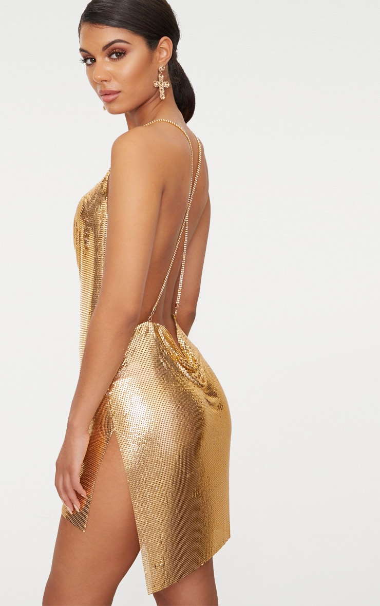 Gold Chainmail Diamante Strap Dress