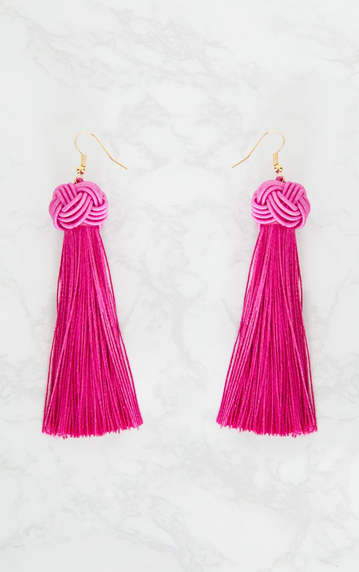 Bright Pink Knotted Tassel Earrings 3